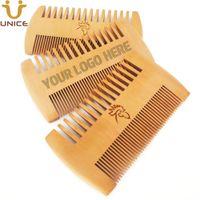 MOQ 50pcs Amazon Hot Sale Fine & Coarse Teeth Double Sides Wood Combs Custom LOGO Wooden Hair Comb Dual Sided Men Beard Comb