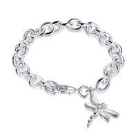 sterling silber libelle armband großhandel-Dragonfly Garnele Schnallen Sterling Silber überzogene Armband; Heißer Verkauf Mode Männer und Frauen 925 Silber Armband SPB282