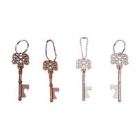 Wholesale wholesale bronze vintage keys - Key Beer Bottle Opener Vintage Retro Keychain Cola cans Opener Key Ring Metal Bronze Silver Wedding Gifts