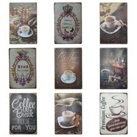 Wholesale coffee time - Coffee Time Theme Tins Sign For Cafe Dessert Shop Hang Decoration Tins Poster Creative Retro Style Iron Painting Hot Sale 20*30cm Z