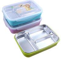 metal gıda kutuları toptan satış-Bölmeleri Ile 304 Paslanmaz Çelik Öğle Yemeği Kutuları Konteynerler - Çocuklar Çocuklar Için Bento Kutusu Piknik Gıda Konteyner