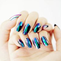 Wholesale acrylic nail art products - Free Shipping Electrochromic Mirror Nail Patch Delicate Manicure False Nails Product Full Nail Tips Art Salon Beauty Fashion Style Glue Mone