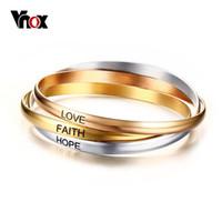 ювелирные изделия из нержавеющей стали оптовых-Vnox 3 in 1 Round Cuff Bracelets Bangles Sets Stainless Steel Femme  Women Jewelry