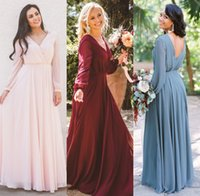 Wholesale party wedding floor long bridesmaid dresses online - 2019 New Cheap Burgundy Chiffon Bridesmaid Dresses V Neck A Line Zipper Back Long Sleeves Maid Of Honor Gowns Boho Beach Wedding Party Gowns