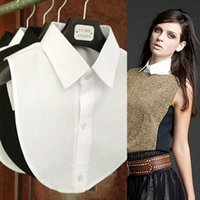 белые блузки черные воротнички женщины оптовых-Shirt Fake Collar White & Black Tie Vintage Detachable Collar False Lapel Blouse Top Women Clothes Accessories