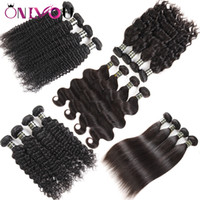 Wholesale malaysian water curly - Brazilian Virgin Hair Body Wave Straight Deep Water Wave Kinkly Curly Human Hair Extensions 10a Grade Weft Weave 3 4 Bundles Natural Black