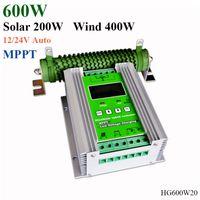lcd mppt solar venda por atacado-600 W LCD Controlador de Carga Solar MPPT Impulsionar 12/24 V Auto Lâmpada de Iluminação de rua vento 400 W solar 200 W