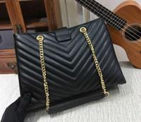 Wholesale Large Black Leather Hobo - Women leather bags famous brand designer handbags ladies clutch purses shoulder bag vintage golden chain bag top quality large hobo tote