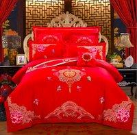 karikatür tarzı düğün toptan satış-Kış Basit Işlemeli Düğün Tarzı Pamuk dört yatak bir aile Set Avrupa yüksek dereceli ev tekstili Kırmızı Yatak setleri