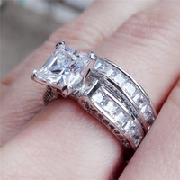 Wholesale double diamond rings - CZ Crystal Set Double Rings Female silver Color Wedding diamond Brand Rhinestone Engagement Finger Ring For Women Jewelry drop ship 080298