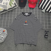 Wholesale Wholesale Mens Striped Shirts - Striped Loose T-shirt Mens 2017 Summer Oversized HighStreet Rose Embroidery Cotton Short Sleeve Tops Tee Shirts For Male