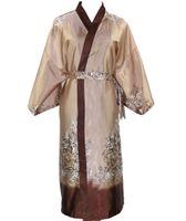 ingrosso pigiama unisex-Novità Cammello maschile Kimono di seta da bagno Robe Gown Uomini cinesi Rayon pigiameria Unisex Tre quarti pigiami Pajama NR006