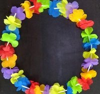 guirlande de fleurs de soie chaude achat en gros de-Mode Hot Party Supplies Soie Hawaiian Flower Lei Guirlande Hawaii Couronne Cheerleading Produits Hawaii Collier