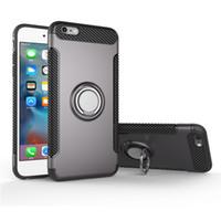 ingrosso supporto astuccio magnetico-Custodia per iphone6 / 6S più in fibra di carbonio TPU morbido con supporto per auto magnete e anello del telefono Custodie per iPhone 6 / 6S