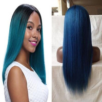 Wholesale Human Hair Lace Wigs Sale - 1B blue Dark Root straight Ombre Human hair Wigs ombre blue Lace Wig on sale