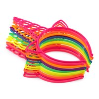 Wholesale Bright Horn - 12pcs lot Bright Color Unicorn Horn Hairbands Children ABS Plastic Hair Bands Cartoon Pattern Headbands For Party GHB059