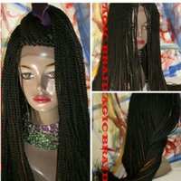 Wholesale 2x 12 - Handmade Long Senegalese 2x Twist Lace Wig Synthetic Fully Hand Braided Medium Twist For Women natural hairline
