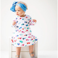 Wholesale Cute Round Collar Dress - New Cute Baby Girls Dresses Long Sleeve cotton Peach Heart Printed Casual Girl Princess Dress Round Collar Love Girl Colorful Dresses A8371