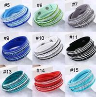Wholesale flannel bracelet resale online - maxi statement Rhinestone Crystal Multilayer Bracelet Crystal bangle Flannel Leather Bracelets Women Wristbands multilayer Crystal Bracelet