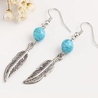 ganchos de peixe de moda azul venda por atacado-New Blue Turquoise Beads Folha Brincos Mulheres Fish Ear Hook Dangle Lustre Brincos Moda Jóias Frete Grátis