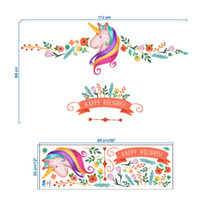 Wholesale sticker happy birthdays - Wholesale- Flower Happy Holidays Unicorn Decorative Wall Stickers For Kids Window Glass Decorations Nursery Room Decals Birthday Gifts V306