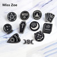Wholesale wholesale goth jewelry - Miss Zoe Handmade Witch Ouija Moon Tarot BooK New Goth Style Enamel Pins Badge Denim Jacket Jewelry Gifts Brooches for Women Men