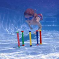 ingrosso attrezzatura da nuoto per bambini-Colorful Diving Stick 5 pezzi in un set per bambini Studio di nuoto Natatorium Training Equipment Protezione ambientale in PVC 14sx X