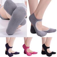 Wholesale Fitness Ballet - 4 Color Women Yoga Socks Anti-slip Backless Silicone Non-slip Socks Ballet Gym Fitness Sports Cotton Socks G51S8