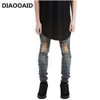 schwarze skinny jeans mode männer großhandel-Designer Brand New Men Schwarze Jeans Skinny Zerrissene Stretch Slim Fashion Hip Hop Swag Mann Lässige Denim Biker Hosen Overalls Jogger