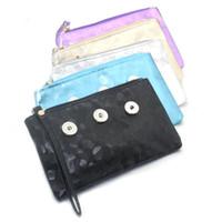 carteira de contas venda por atacado-5 cores das mulheres snap pu botão snap botão de couro carteira de cartão hold 18mm encantos moda jóias 8676