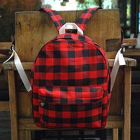 Wholesale school book bags men resale online - 32 cm Red Plaid Backpack Blanks Black Red Check School Bag Buffalo Plaid School Gift Book Bag DOM106880