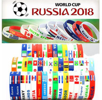 Wholesale wholesale sports souvenir gifts - 2018 Russia World Cup sports bracelets Many countries national flags silicone Wristband For Football soccer Fans Souvenir Jewelry Gift