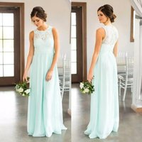Wholesale Mint Chiffon Shirt - 2018 Mint Green Lace Country Bridesmaids Dresses Long Sheer Jewel Neck Chiffon Wedding Guest Dress Floor Length Cheap Maid Of Honor Gowns