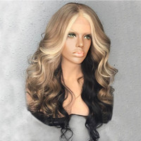 peruca mix preto branco venda por atacado-ZF Encaracolado Perucas Olhar 24 polegadas Ombre Mista Marrom Preto Encaracolado Perucas Mulheres Brancas Perucas Naturais Para Venda