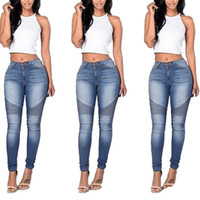 Wholesale Distressed Jeans Woman - Women's Distressed Ripped Skinny Jeans Fashion Designer Womens Jeans Slim Causal Womens Denim Pants Hip Hop Women Jeans