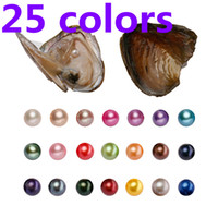 Wholesale REAL Pearl MM Round Pearl in Oysters Akoya Oyster Shell With colors for choose AAA Grade Natural Pearls Jewelry By Vacuum Packed
