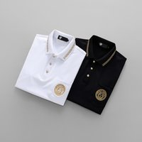 Wholesale Floral Pocket T Shirt - 2018 Men's Polos Short-Sleeves designer 3D Versa Italain Brand Luxury polo short T-shirts Tees Shirt for man Slim Pocket M-3XL 100% cotton