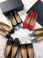 Wholesale Red Ballet Flats Shoes - Classic style Beige Black Red Ballerina Flats Lambskin Women Loafers Six Colors Size 34-40 With box Lady Ballet Shoes Flats With Bowtie