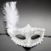 венецианские маски для девочек оптовых-1pc Women Sexy Venetian Lace Feather Flower Eye Masks Christmas Halloween Masquerade Mask Girls Half Face Party Dance Headwear