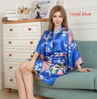 Wholesale women sleep shorts - Amazing Women Dresses Silk Floral Printing Robe Single Short Kimono Bathrobe Cardigan Women Short Floral Dressing Night Gowns Sleep Coat