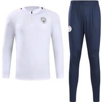 Wholesale Full Outfits - 17-18 new MEN MC City Tranning KITS outfits Tracksuits Jacket Pants DE BYUYNE KUN AGUERO 17-18 training suit chandal sportswear