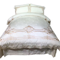 Wholesale Hotel Duvet Covers - 4pcs White Embroidery Palace Royal Luxury Bedding Set King Queen Size 100% Egypt Cotton Hotel Bed set Duvet Cover Bed Sheet