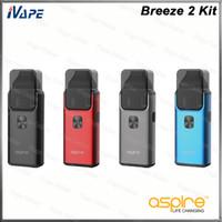 стремятся регулируемый комплект оптовых-Aspire Breeze 2 Kit Breeze 2 AIO Pod System Vaping устройство 1000mAh Buit-in аккумулятор с Breeze 2 Pod 2ml воздушный поток регулируемый 100% оригинал