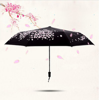 Wholesale cherries coat - Cherry blossoms Anti UV Sun Protection Sunny Rain Umbrella For Women Kid Ultralight Umbrella Automatic Black Coating
