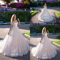 Wholesale backless corset for wedding dress for sale - Group buy 2018 Ivory Country Lace Wedding Dresses Sheer Neck Cap Sleeves A Line Tulle Bridal Gowns For Garden Corset Back Long Sweep Train