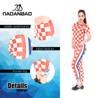 Wholesale women yoga pants white for sale - 2018 Russia World Cup Football Pants Red and White Plaid D Digital Print Women Leggings Warm Stretchy Pants Yoga Fitness Leggings Para