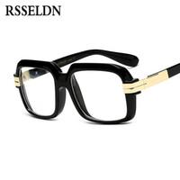 ingrosso gradiente nero cornici per occhiali rotonda uomini-RSSELDN Fashion lasses frames Per Uomo Donna Designer Lente Trasparente Occhiali da vista Quadrati Maschile Eyewear 2018