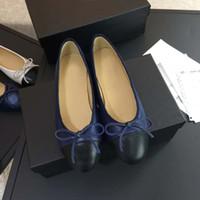 zapatos para la cara al por mayor-2018 recién llegado de lujo de las mujeres planas de cuero de encaje plano zapatos de ballet, cara de satén 16 colores con la original caja de bolsas de polvo envío rápido