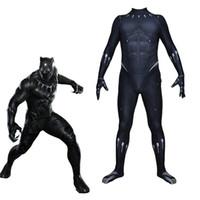 cuerpo rey al por mayor-Tamaño asiático Rey Pantera Negra Original Superhéroe Cosplay Disfraz de Halloween Lycar Spandex Partido de los hombres Zentai Jumpsuit Body