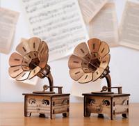 quarto modelo venda por atacado-Criativo retro nostálgico fonógrafo caixa de música caixa de música modelo casa cênica área de venda de artesanato em madeira